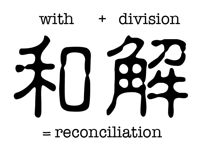 """While 和 means with and 解 means division, they come together to form the word """"reconciliation"""", which reflects its meaning — joining together two things that were once separated."""