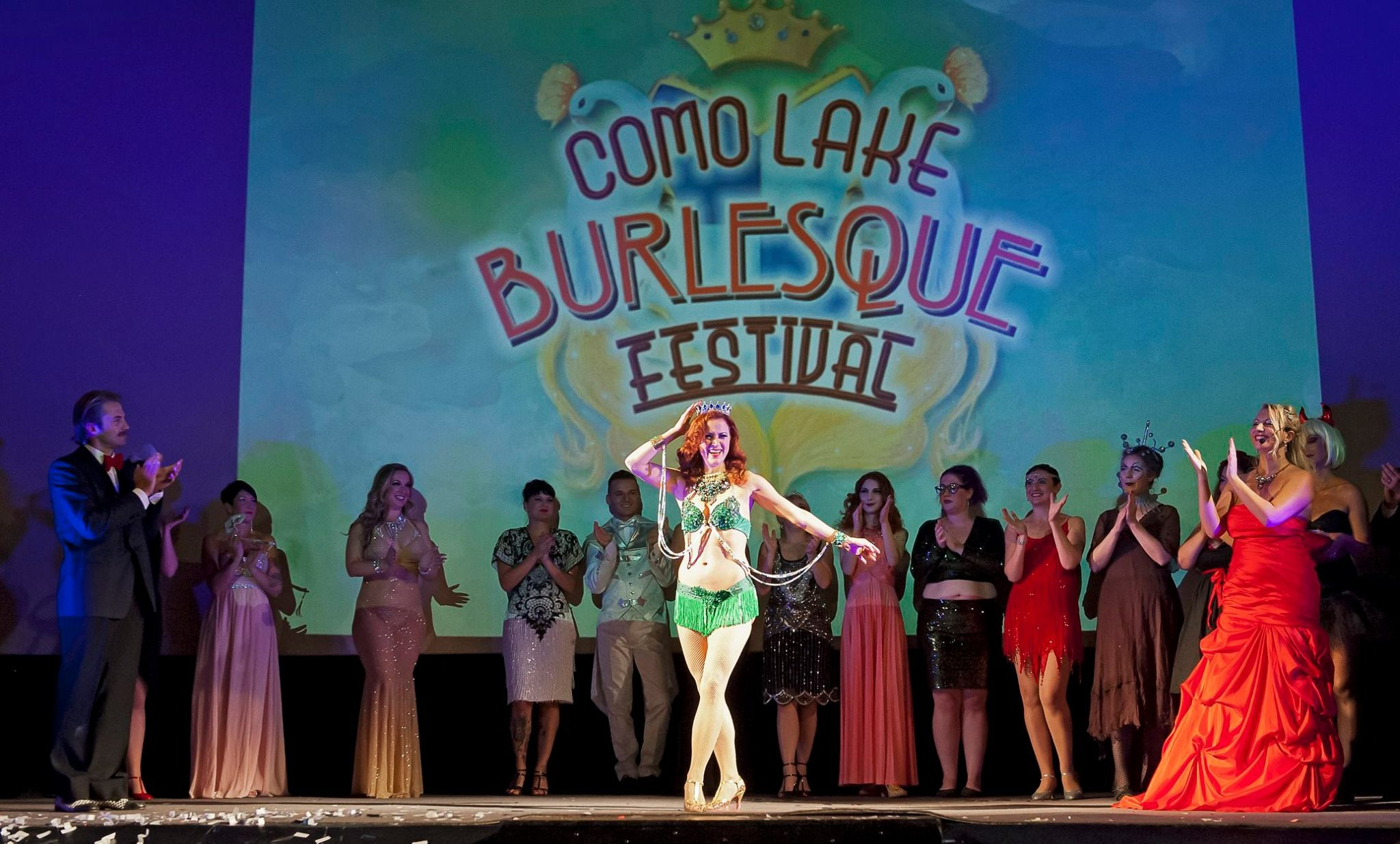 Francine winning the crown at Como Lake Burlesque Festival, Como Lake, Italy