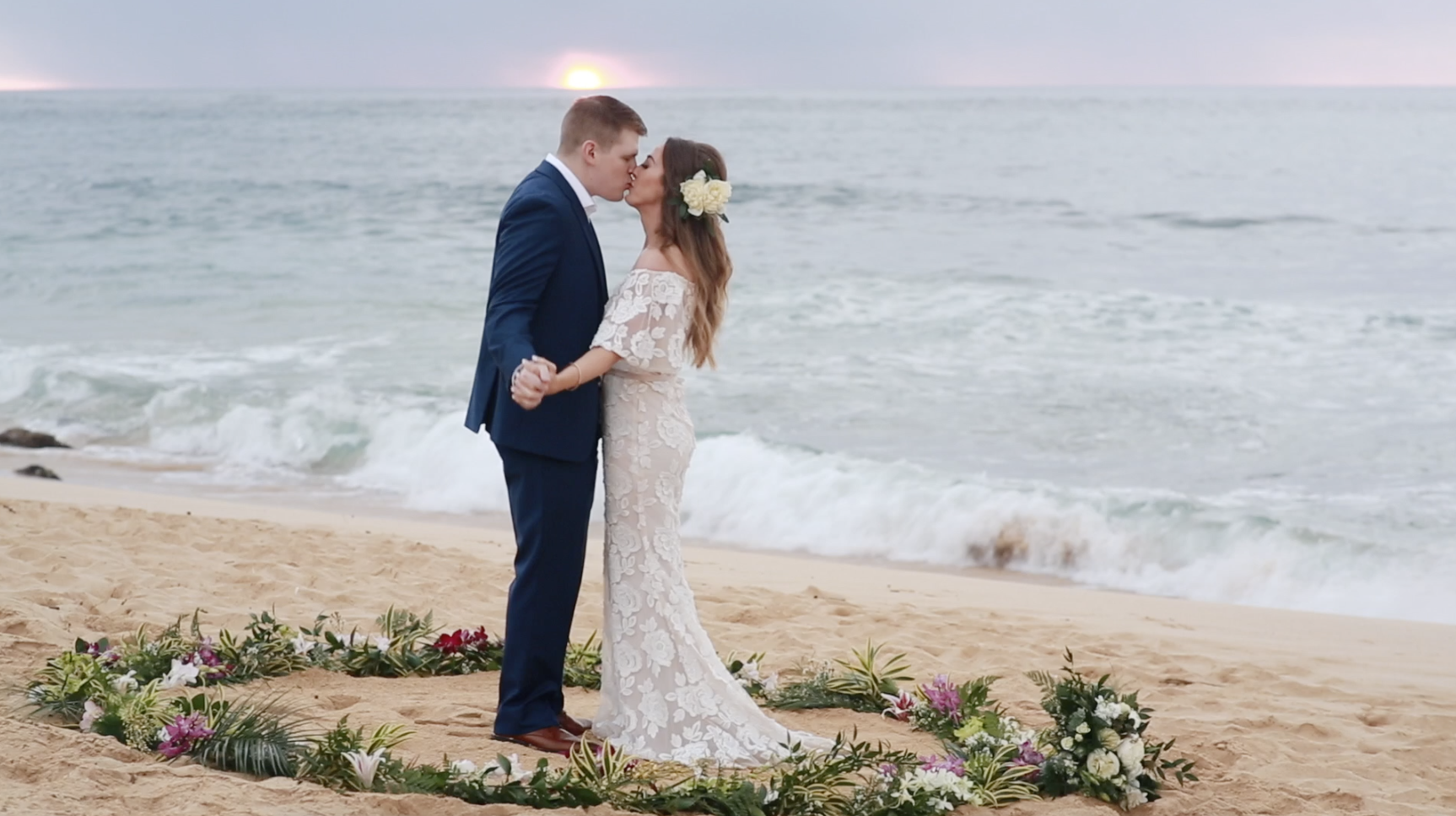 Sunrise beach wedding // Kauai, Hawaii