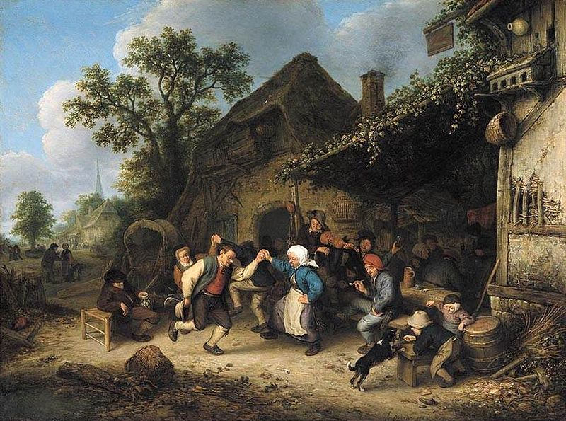 """Village Scene With Dancing Peasants Outside An Inn"" Adriaen van Ostade (1610-1685), Oil On Oak Panel c. 1660"