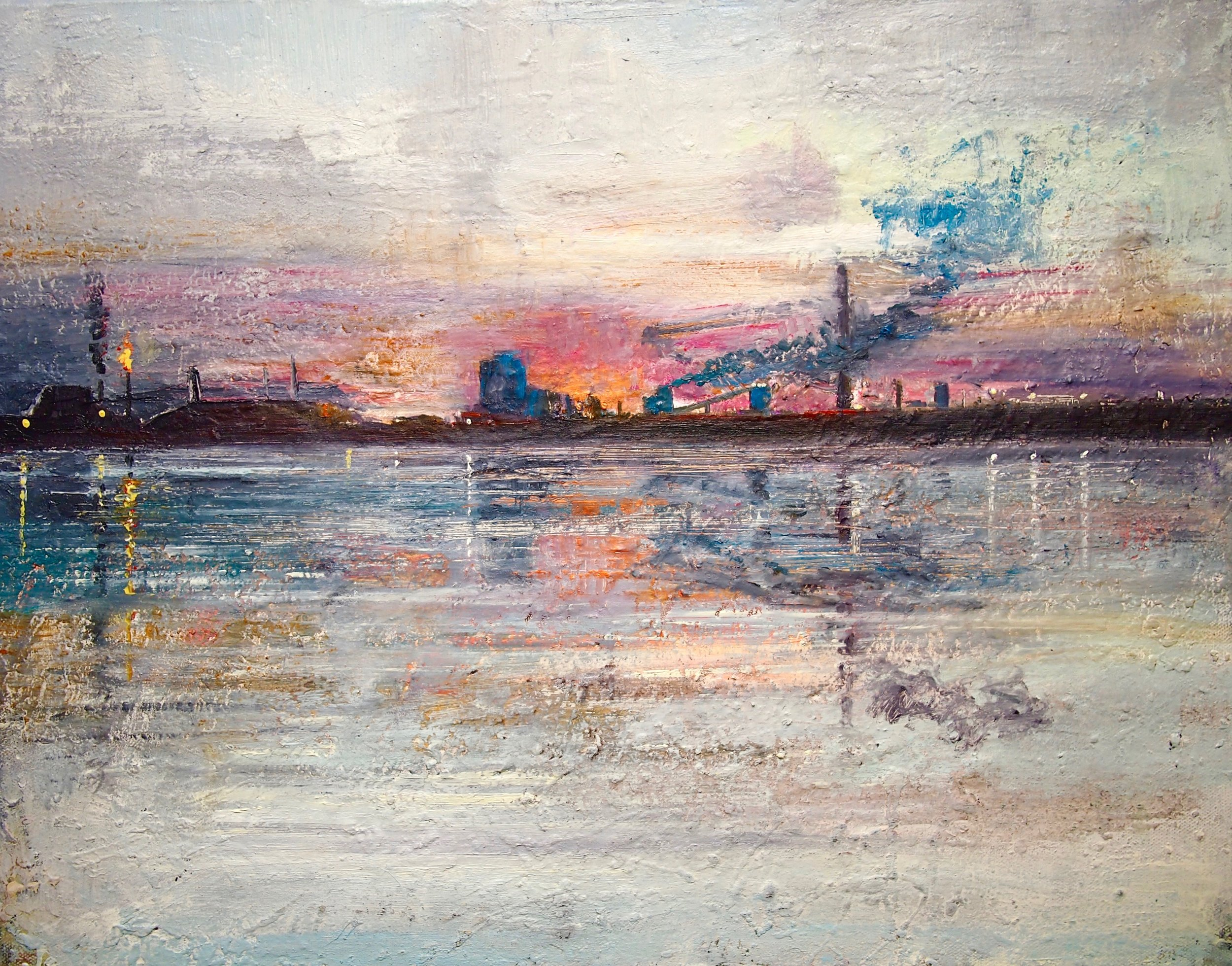 Port Talbot, Reflections - 50 x 40 cm