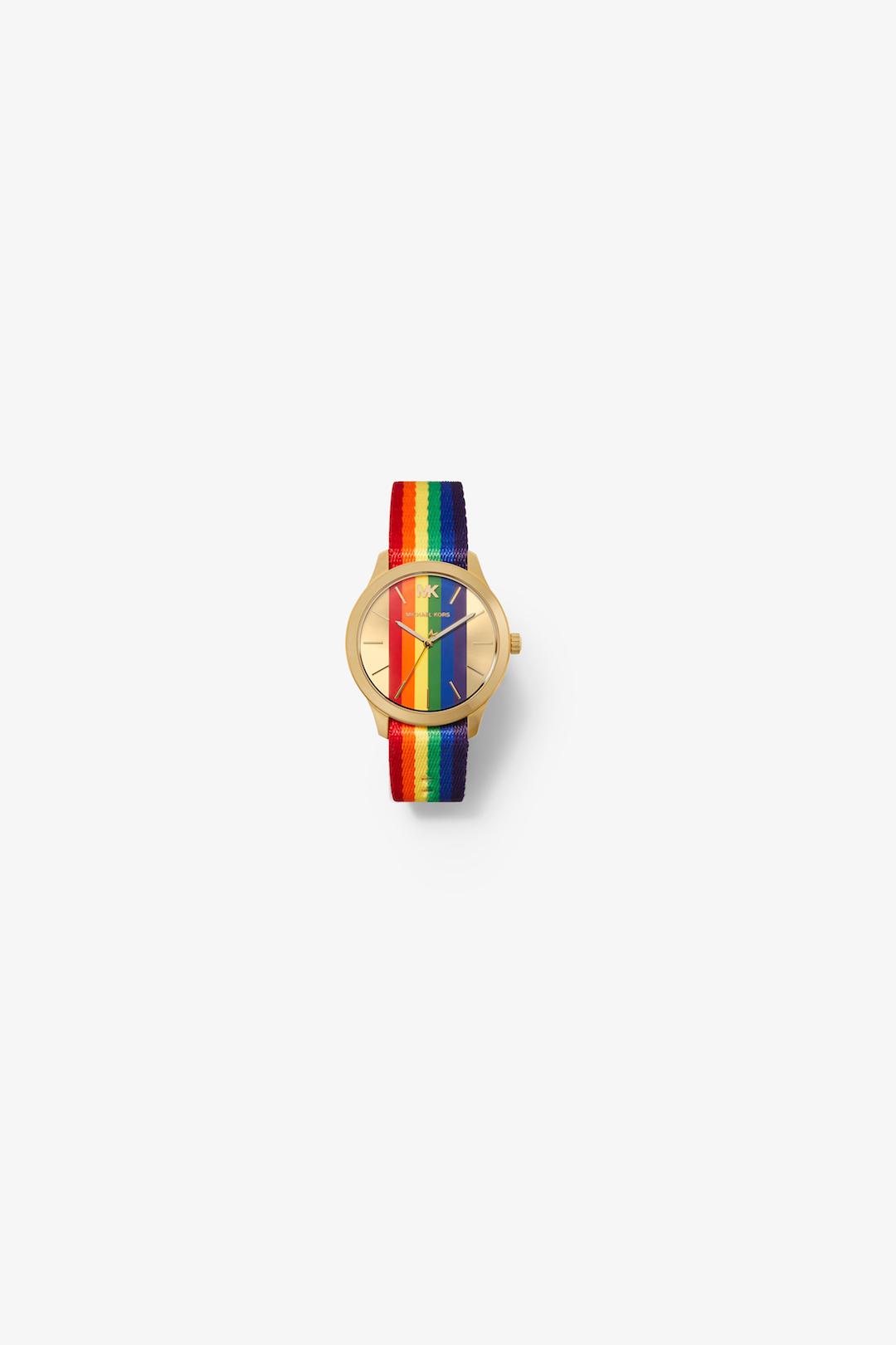 MICHAEL Michael Kors Multi Gold-Tone Rainbow Striped Canvas Runway Watch.jpg