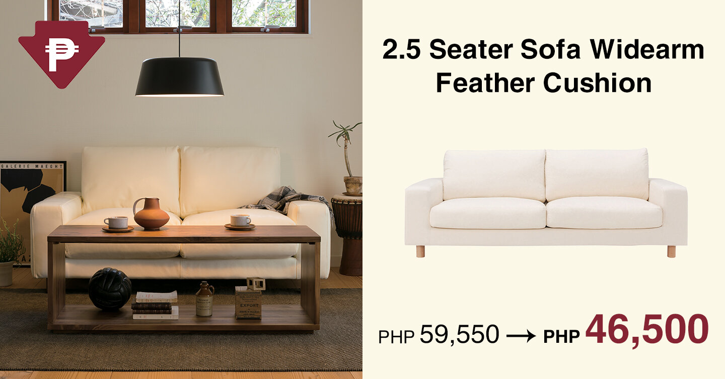 Muji 2.5 Seater Sofa Widearm Feather Cushion .jpg