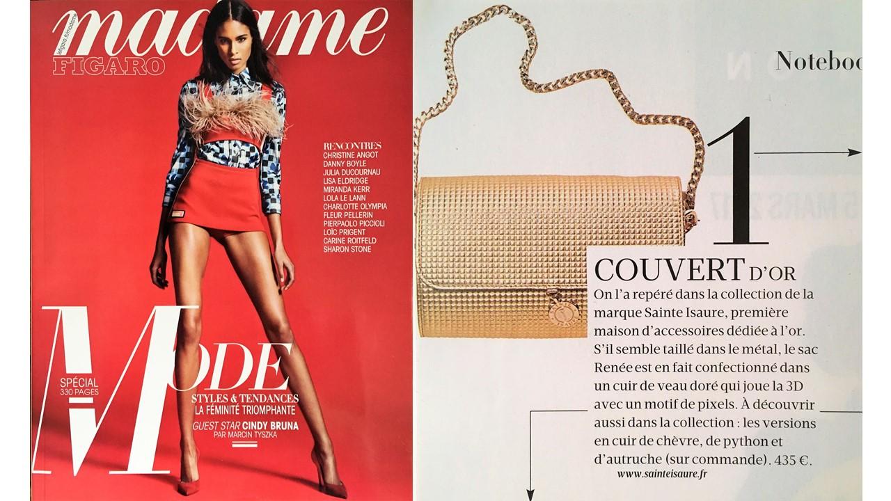 Février 2017 : Journal Madame Figaro – Spécial Mode – Sainte Isaure et le Renée 3D, numéro 1 de la it list de la semaine.
