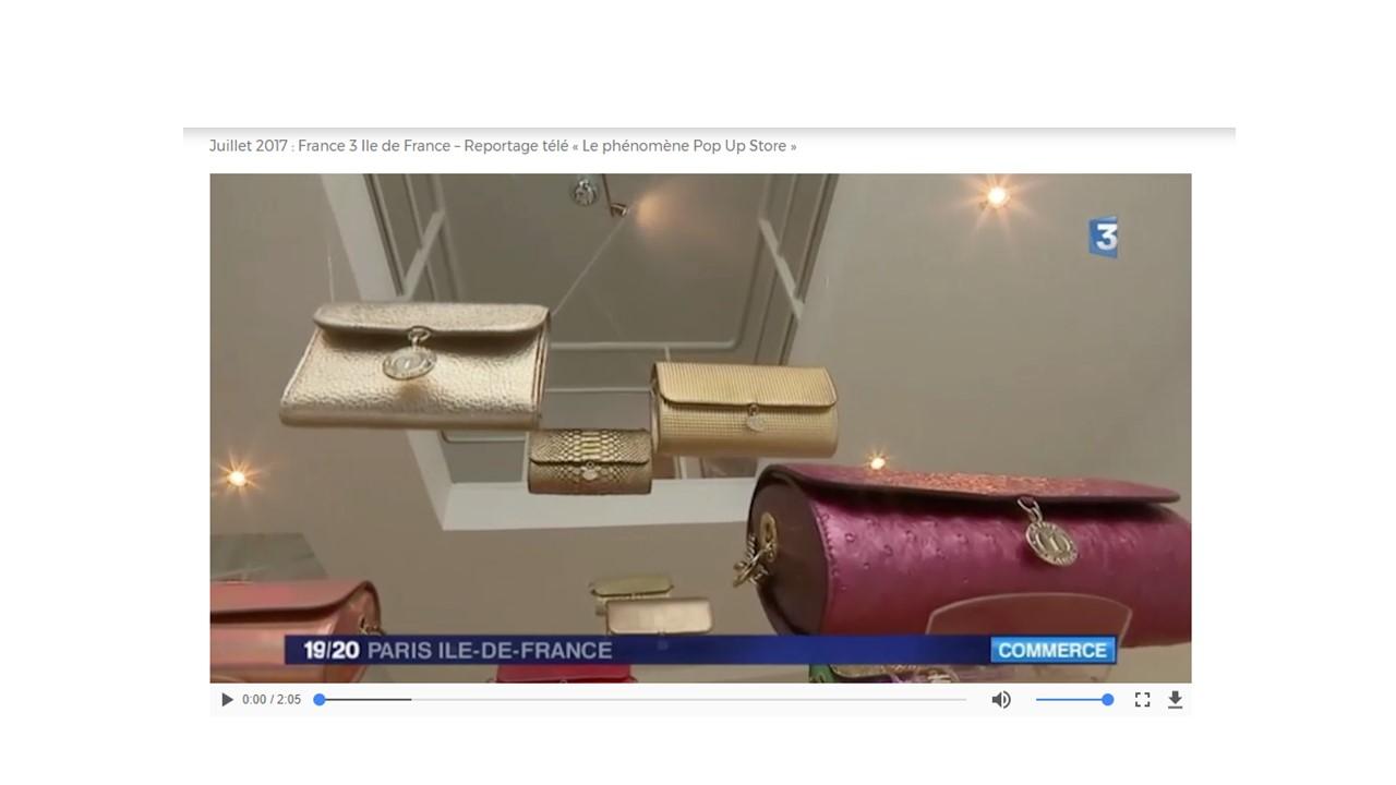 Juillet 2017 : France 3 Ile de France – Reportage télé « Le phénomène Pop Up Store »