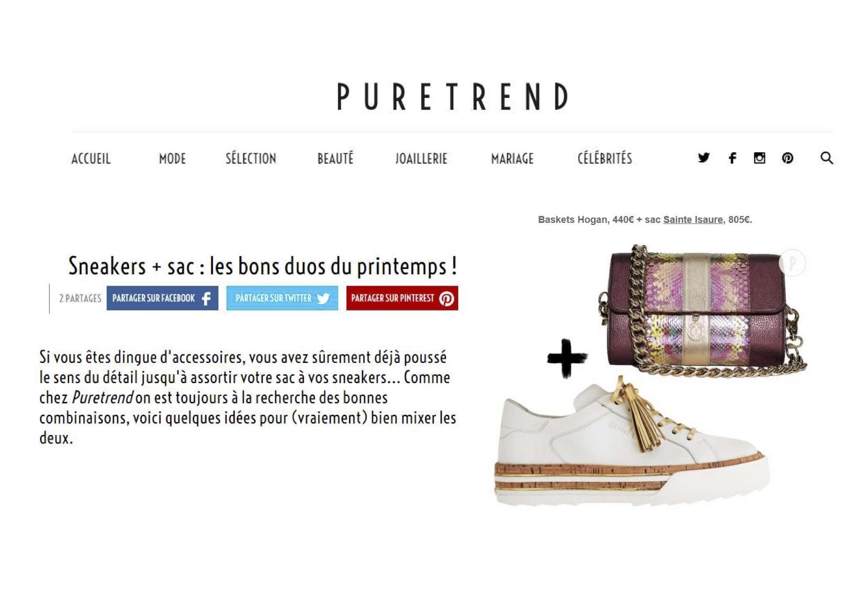 Avril 2018 : Puretrend.com - Sneakers + sac : Sainte Isaure dans les bons duos du printemps