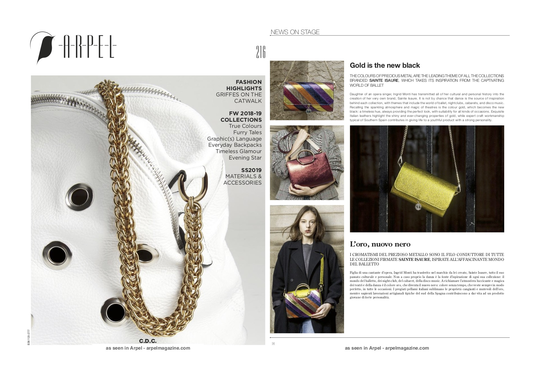 Mai 2018 : Arpel Magazine - Gold is the new black