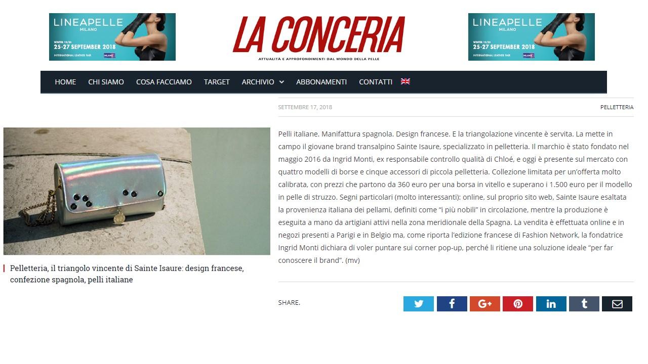 Septembre 2018 : La Conceria - Le triangle gagnant de Sainte Isaure : design français, cuirs italiens et confection espagnole