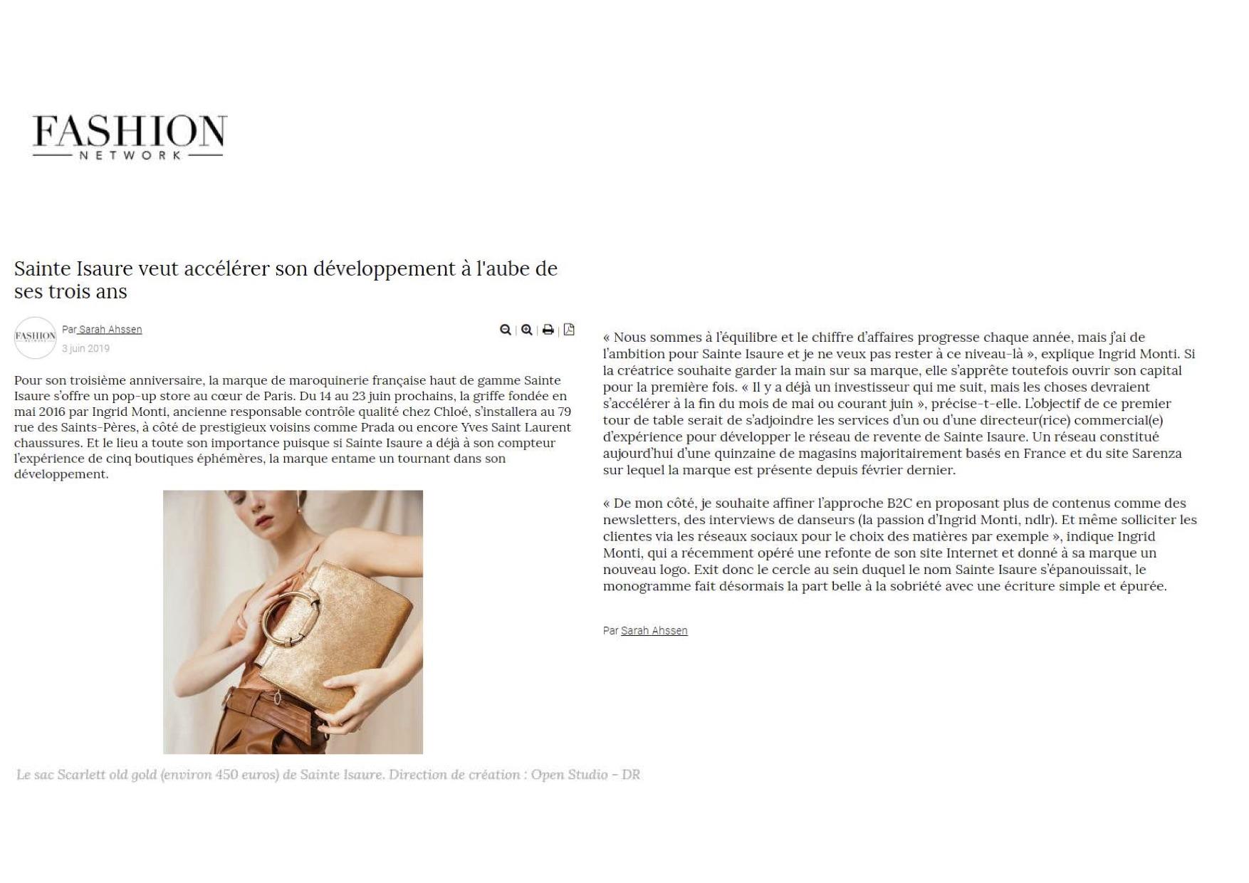 Juin 2019: Fashion Network – Sainte Isaure accélère son développement
