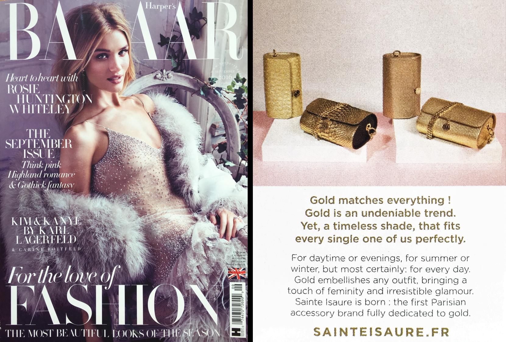 Août 2016: Harper's Bazaar UK- Sainte Isaure, Gold is the new black
