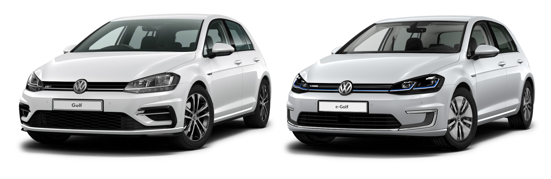 Compare the electric VW Golf (e-Golf) to petrol VW Golfs