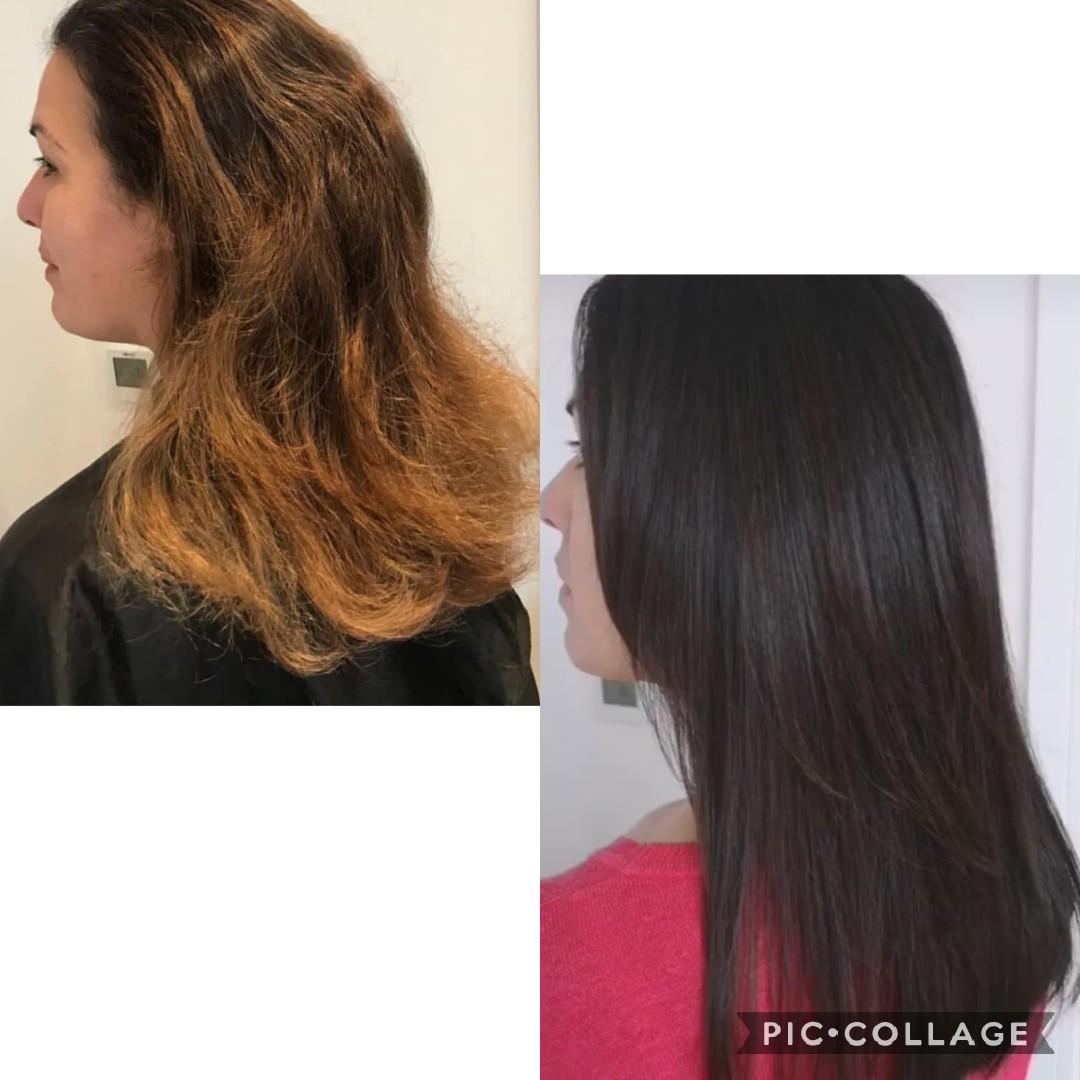 Balayage to brunette