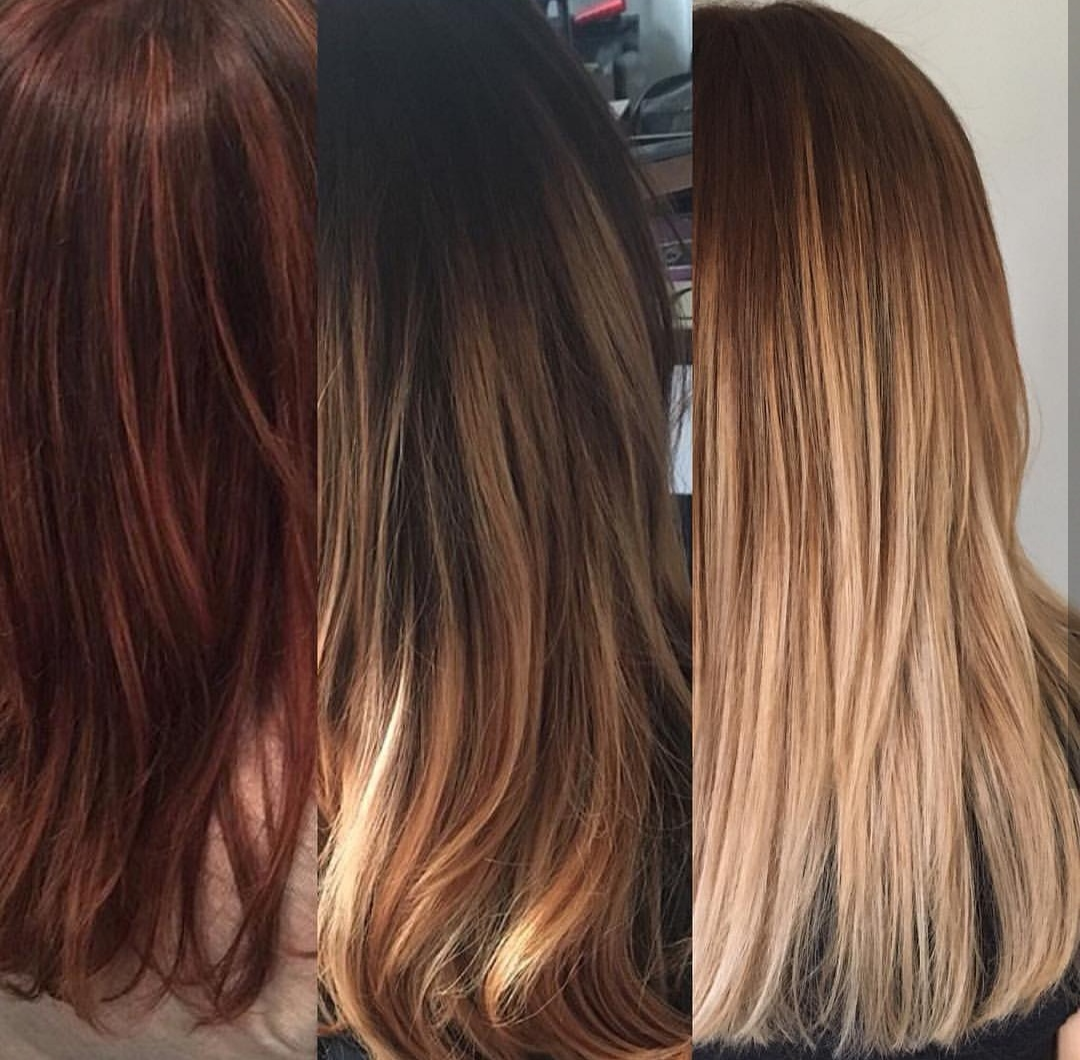 stages of balayage in box dyed hair