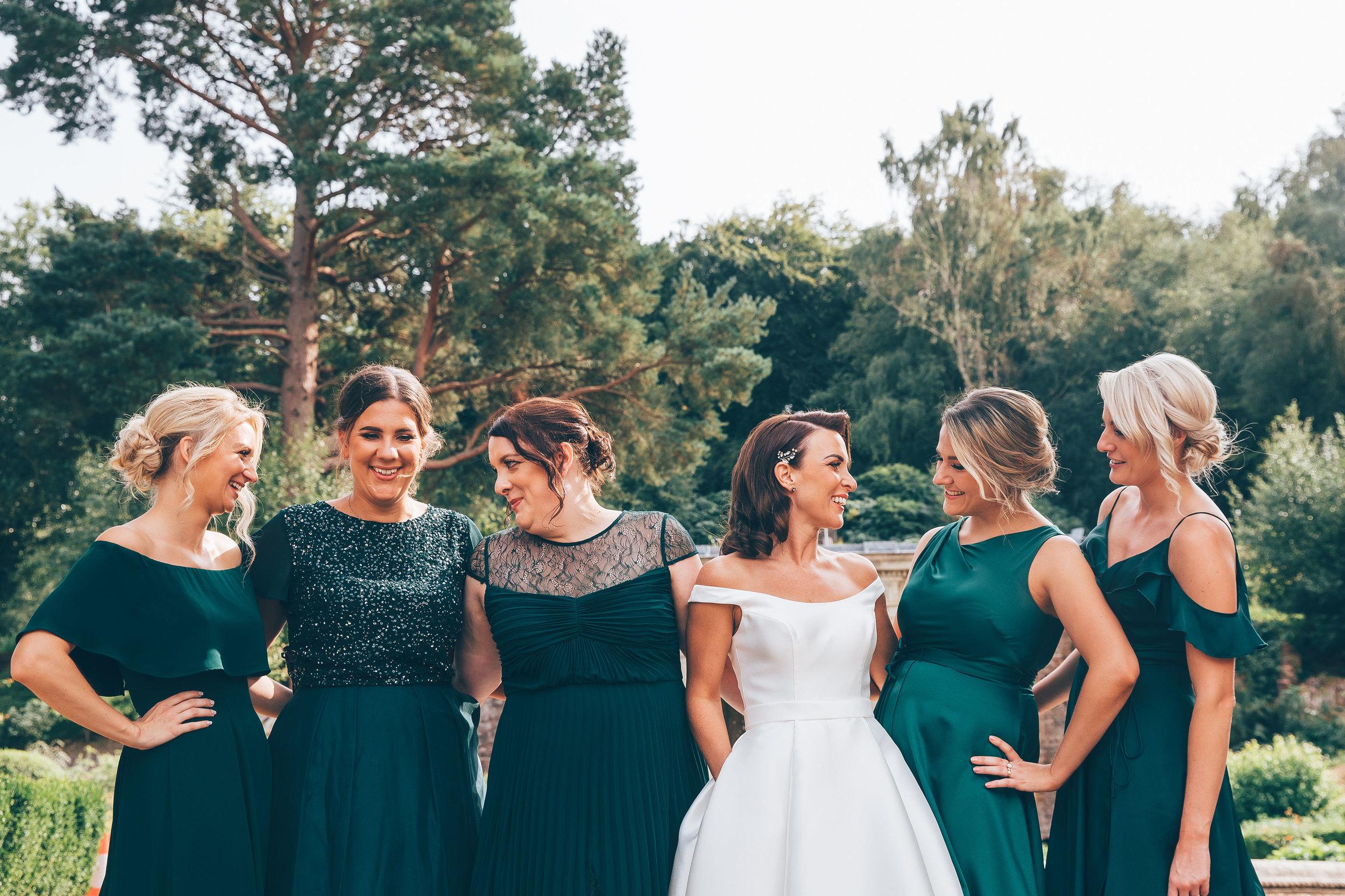 Bride and bridesmaids hair