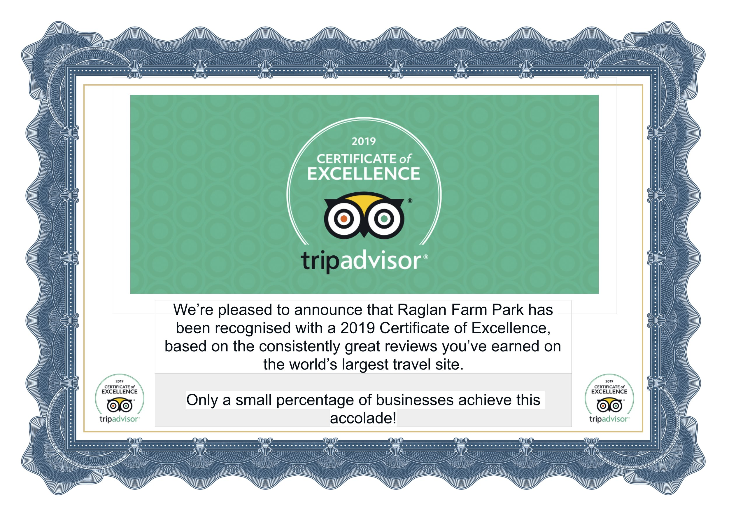 Our consistently good reviews have been rewarded by Trip Advisor's 'Certificate of Excellence'