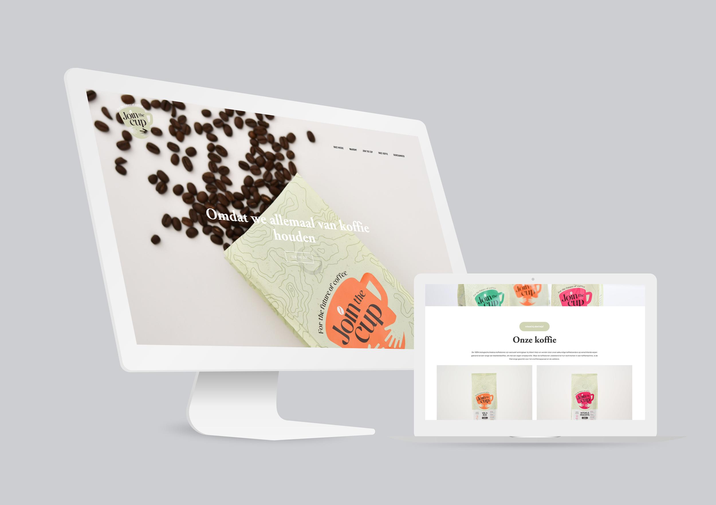 Join the Cup van Albert Heijn    Van Albert Heijn kreeg ik de opdracht om hun gerestylede organic koffielabel Join the Cup ook online in een nieuw jasje te steken. Naast het webdesign was ik ook verantwoordelijk voor de webteksten, de sfeer- en productfotografie en het opzetten van de bijhorende social media. Een toffe uitdaging!