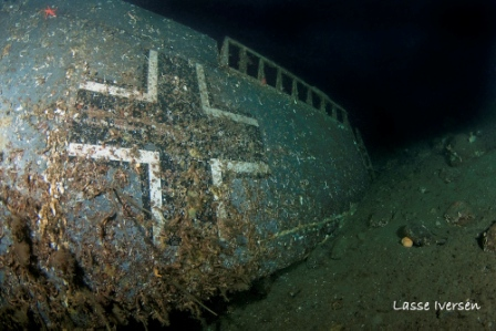 Photos from the divers show that the nazi symbols are still visible
