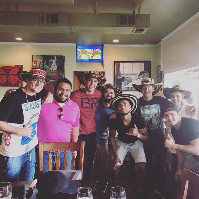 @josefmartinez17 celebrando el HAT TRICK con @parceroswithsombreros en @kioscoonthesq !!! Felicidades crack, mucha suerte,  y que vengan mas goles!!! #mariettasquare #colombia #venezuela #unidos #empanadas #bandejapaisa #sombrero #colombianrestaurant #colombianfood #mlsallstar #mls #hattrick #history