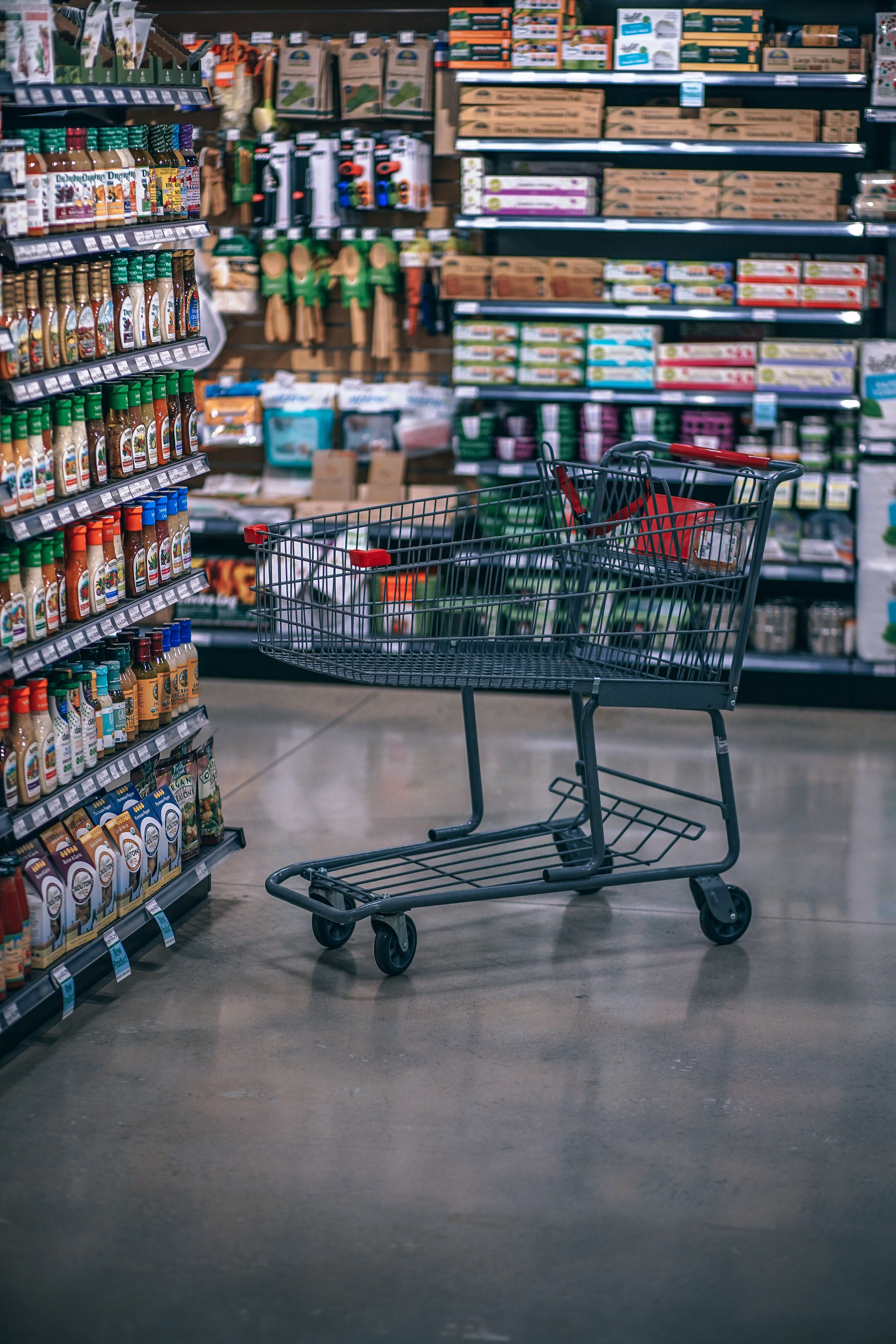 A shopping cart and food in a grocery store aisle