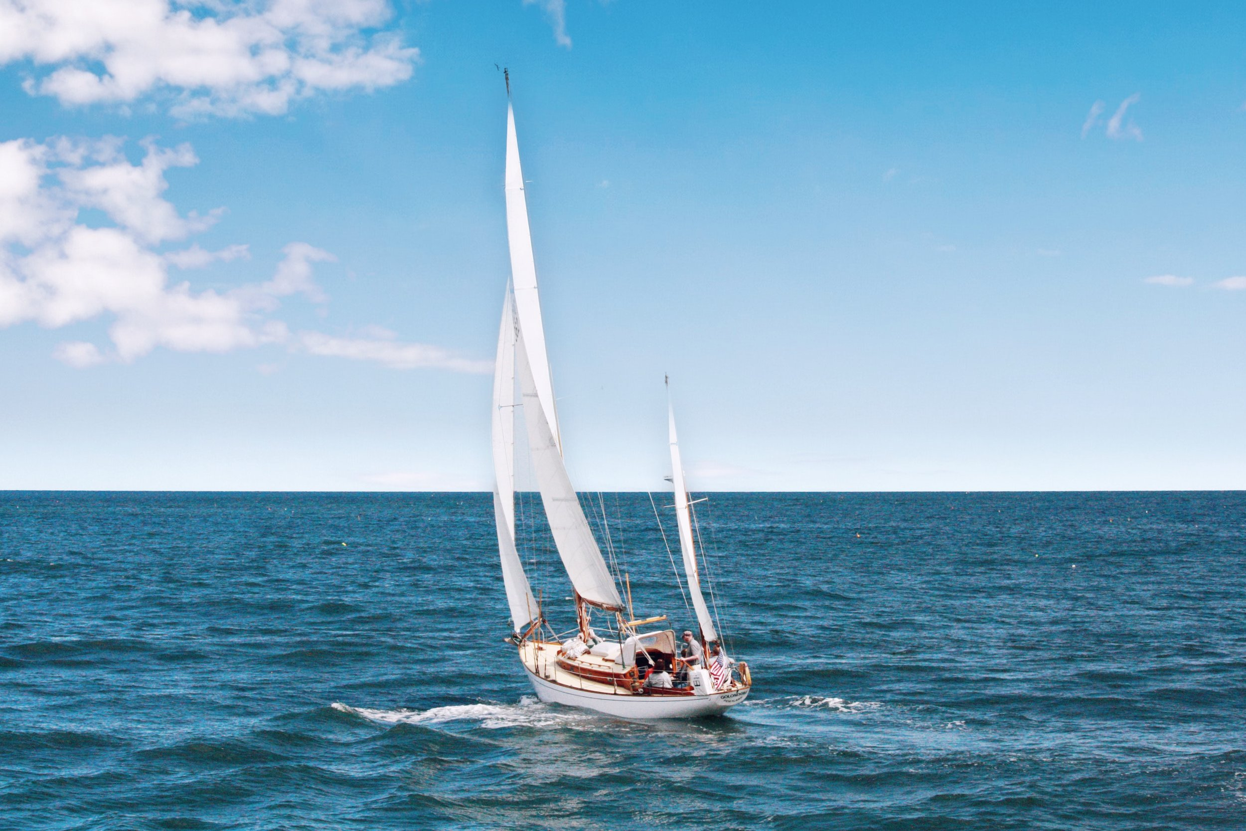 A sailboat underway on the ocean