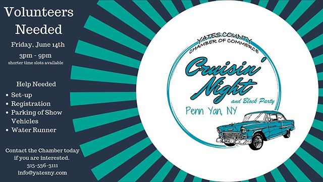 Cruisin' Night needs Volunteers! Interested in helping!? Contact Yates County Chamber of Commerce! 315-536-3111 #yatescounty #cruisinnight