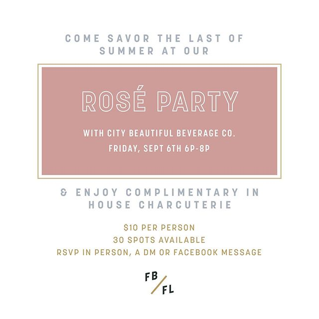 〰️ Come hang with us! 〰️ We'll be offering a total of 6 rosé varieties! $5 off any bottle purchase for those attending!