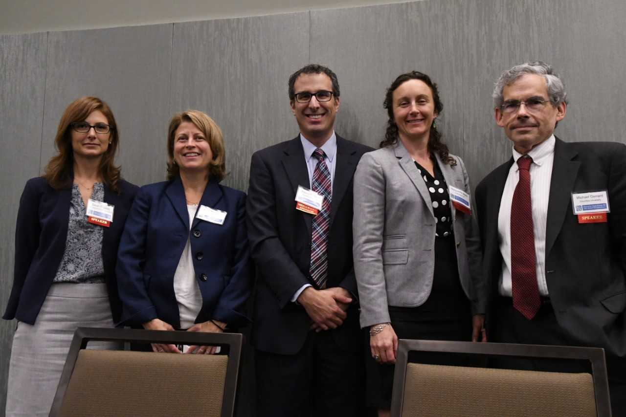 Panelists for Siting Challenges and Strategies: (L to R) Sarah Osgood, Director of Policy Implementation, NYS DPS, Anne Reynolds, Executive Director, ACE NY, Moderator, Rob Panaasci, Partner, Young/Sommer, Marguerite Wells, Invenergy, Michael Gerrrard, Founder and Director, Sabin Center for Climate Change Law