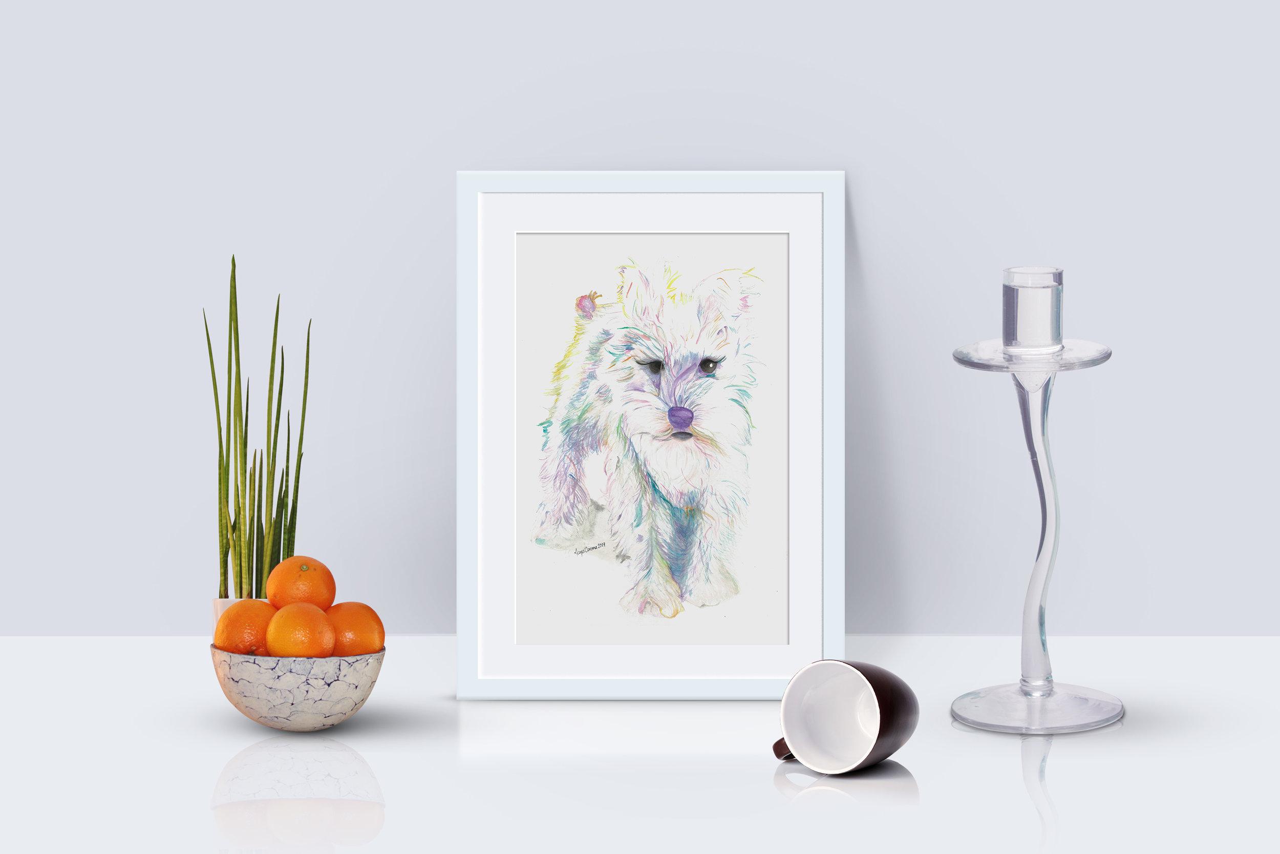 Copy of Schnauzer Watercolour pet portrait by Maya Corona