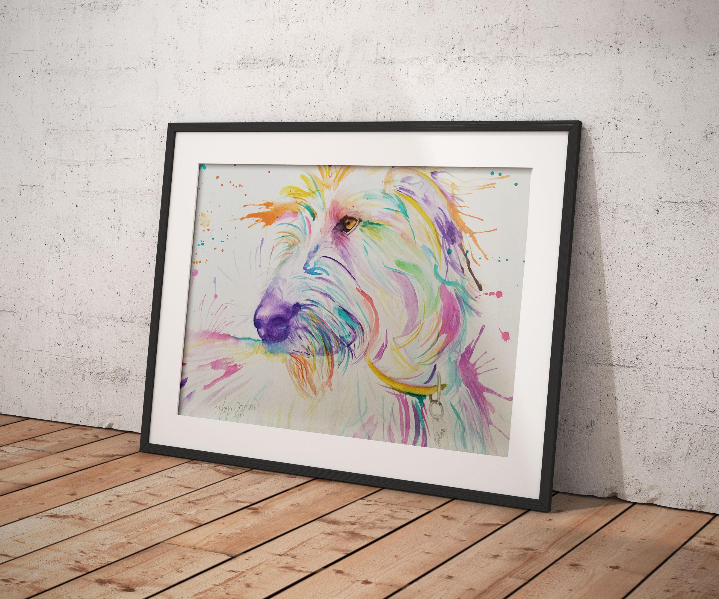 Copy of Wholfhound Watercolour pet portrait by Maya Corona