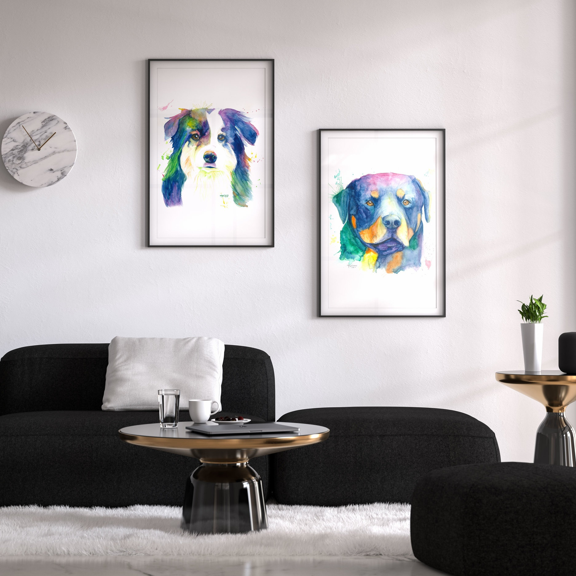 Chelsea & Bruiser - ✰✰✰✰✰Maya captured the energy and characters in both of our dogs. With her amazing talent she managed to bring them to life with a splash of colour. I would HIGHLY recommend having a portrait done of your FURever best friend!—Donna Crane, Calgary AB - Canada