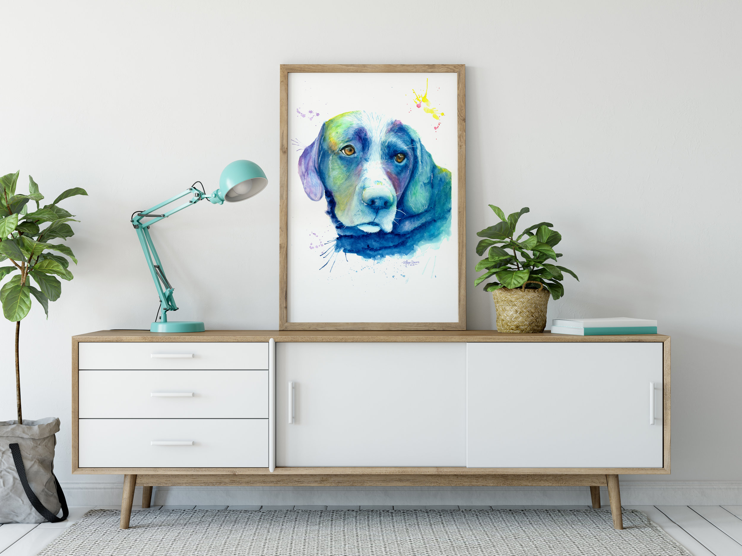 OTIS - ✰✰✰✰✰Our black lab is a member of the family and when I discovered Maya's work I jumped at the chance to have Otis's portrait done for my wife's birthday. We all love it, she captured his essence perfectly with just a hint of whimsy. The painting is a unique and wonderful addition to our home.—Derek Manns, Calgary AB - Canada