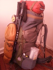 - my fully loaded pack the night before; how far i have come since