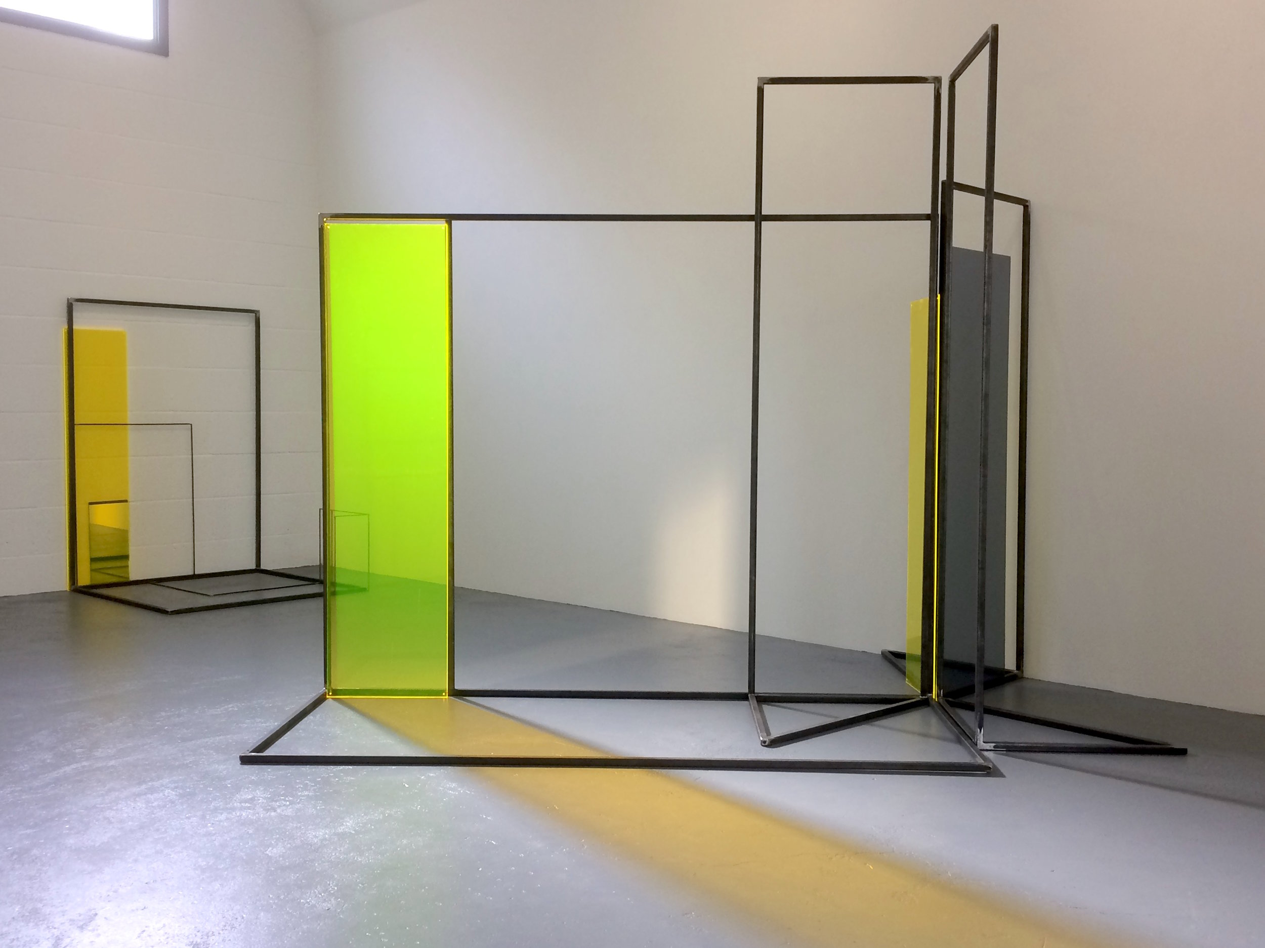 Rosalind Davis.Haus Konstructiv. Steel, Perspex and Mirror installation at no format gallery.2017jpg.jpg