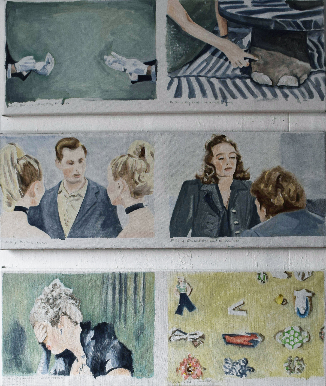 Cathy Lomax, Film Diary 66 (12 06 14 - 14 07 14), 2018, oil on linen, 6x(30x85cm)_1.jpg