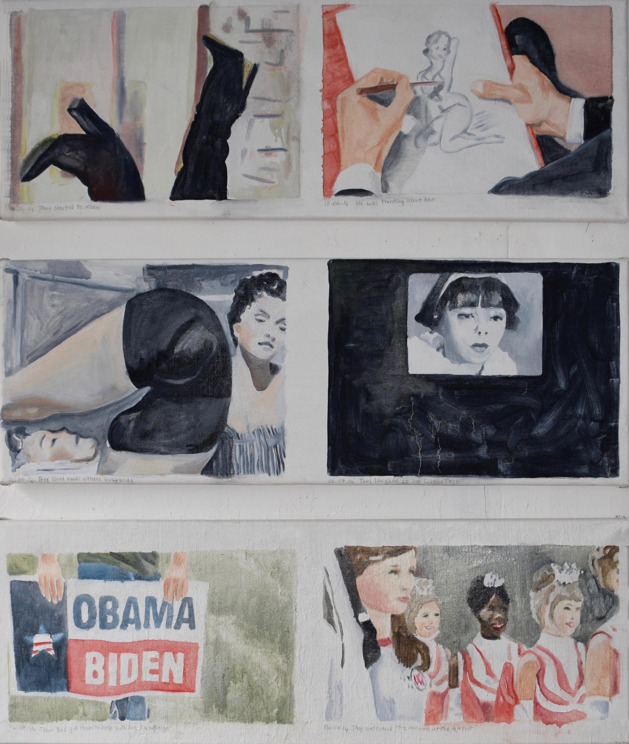Cathy Lomax, Film Diary 66 (12 06 14 - 14 07 14), 2018, oil on linen, 6x(30x85cm)_2.jpg