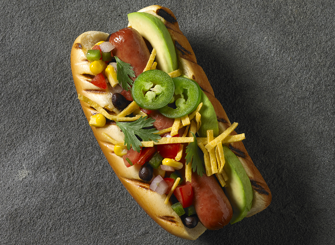 Fresco Dogs with Grilled Corn and Tomatillo salsa