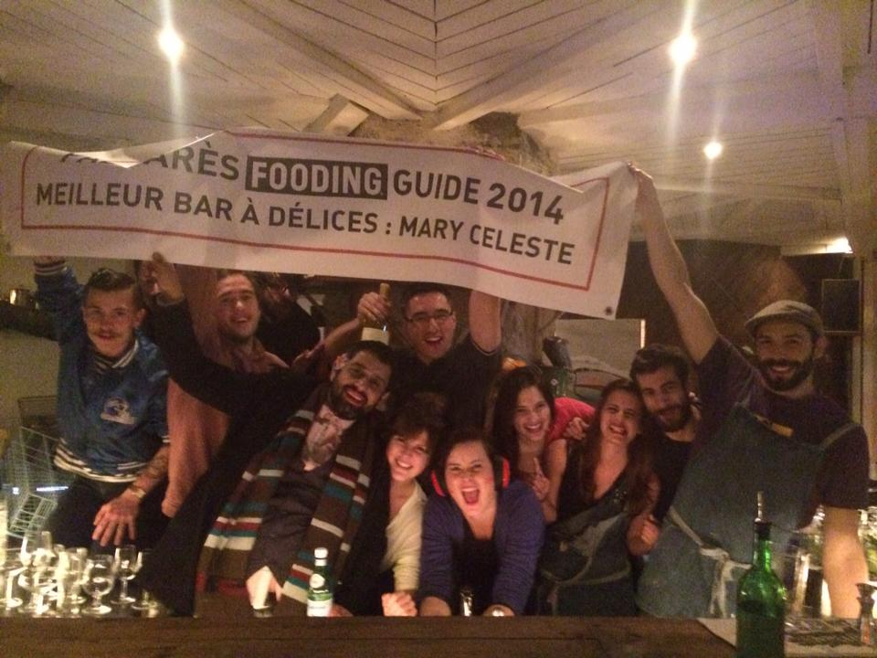 """Le Mary Celeste x Le Fooding - 2013 The French food guide """"Le Fooding"""" recognizes our team's work and awards LMC the title of """"Meilleur Bar à Délices 2014"""". We celebrated turning this banner into a mezcal luge during the after party."""