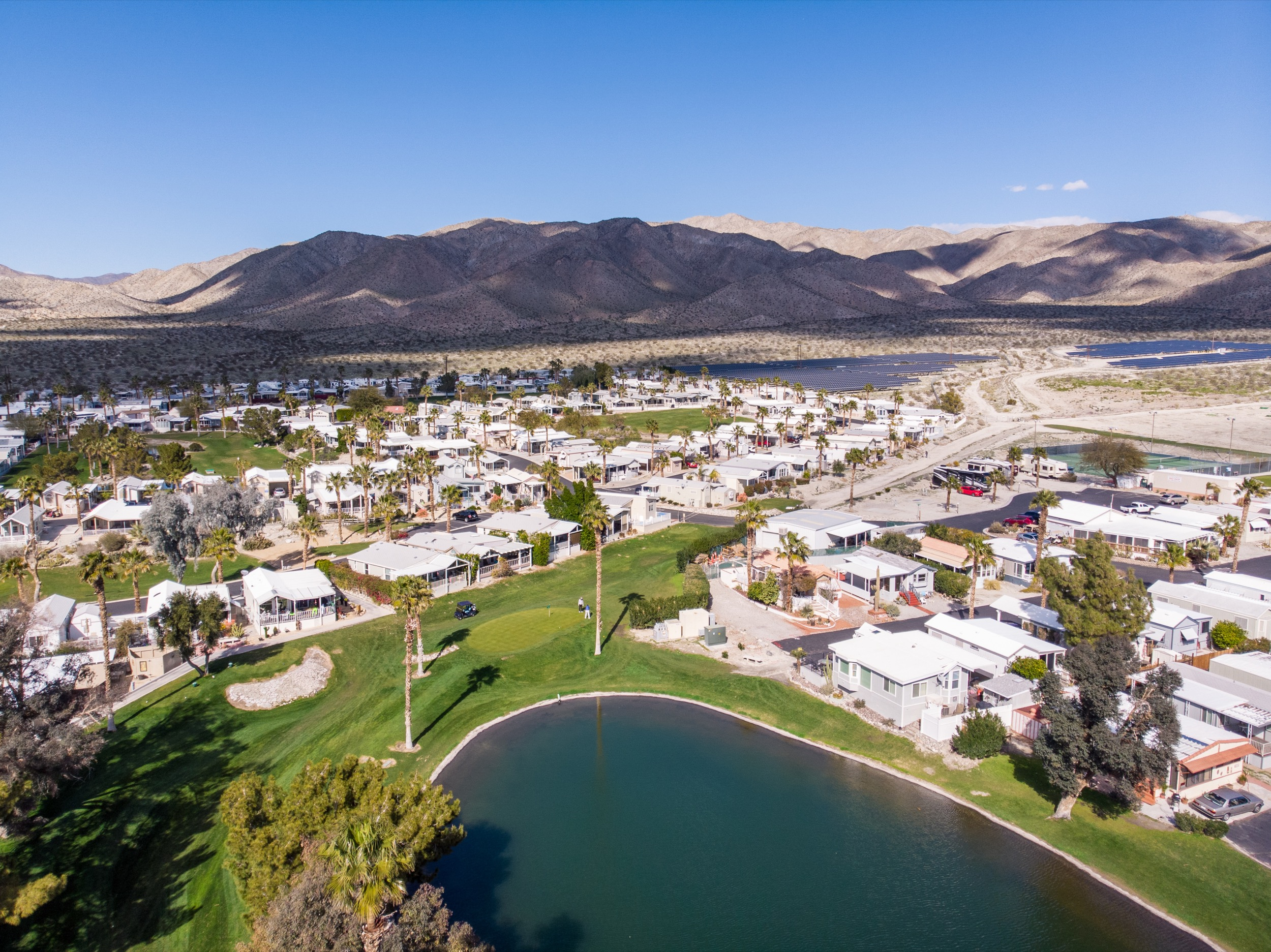 RESORT AMENITIES - HOT MINERAL POOLS AND SPASCENTRAL CLUBHOUSE LOCATIONPICKLEBALL AND TENNIS COURTSGOLF COURSE, DRIVING RANGE, AND PRO SHOPFITNESS ROOM AND SAUNASDOG PARKSWALKING TRAILSHORSESHOES AND BOCCESOCIAL EVENTS SCHEDULED YEAR-ROUND