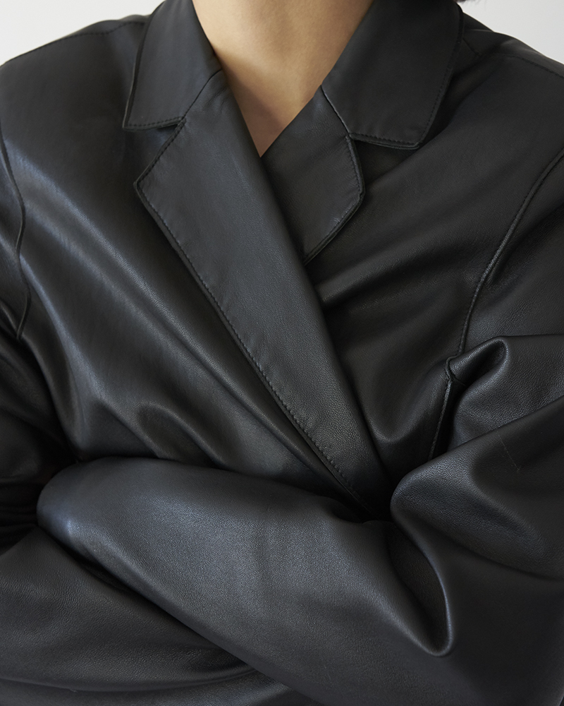 vintage leather blazer ethical materials