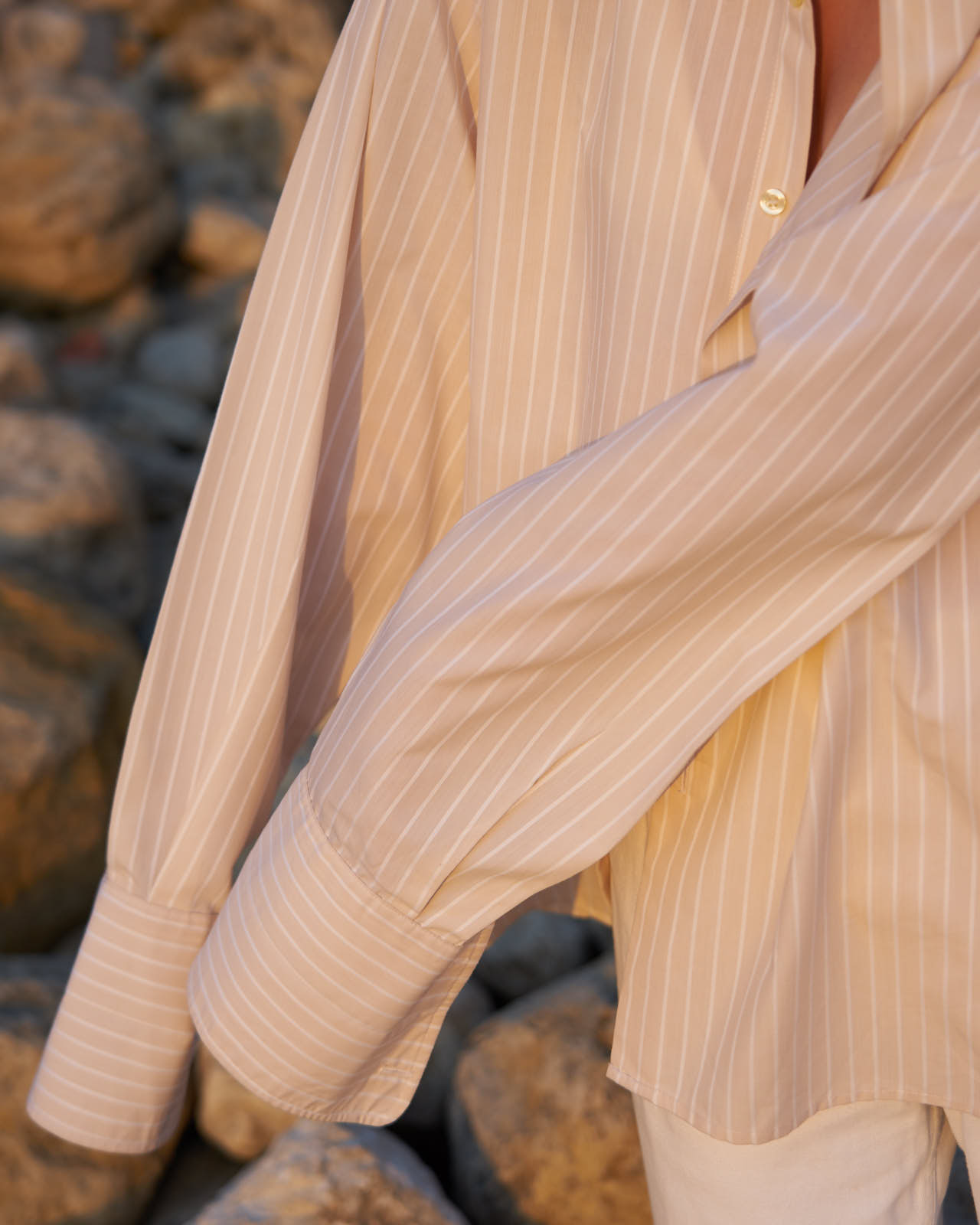 the level vintage menswear shirt oversize minimal sunset stripe