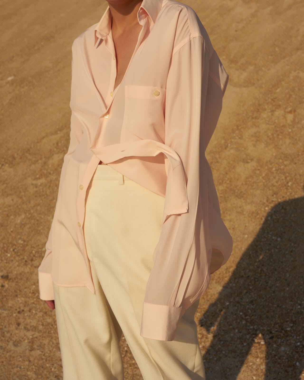 the level vintage menswear shirt oversize minimal sunset pink