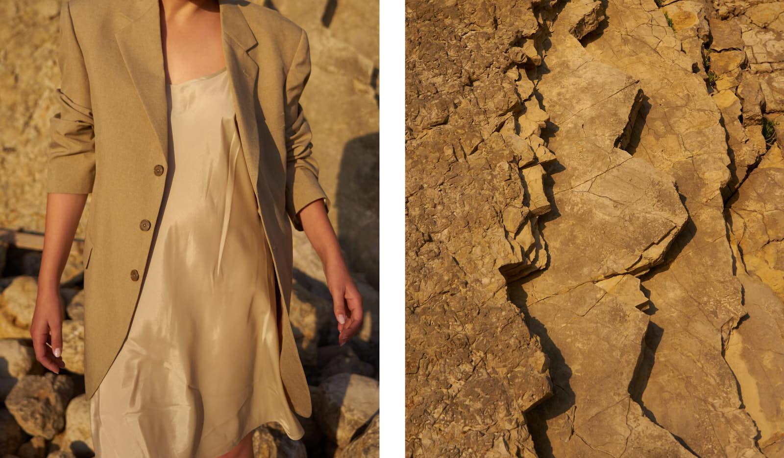 the level vintage menswear blazer oversize minimal sunset slip dress satin