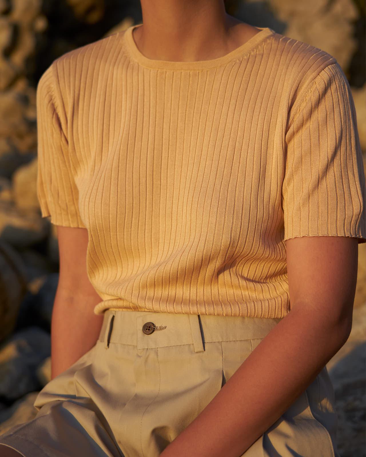 the level vintage menswear knit rib top oversize minimal sunset