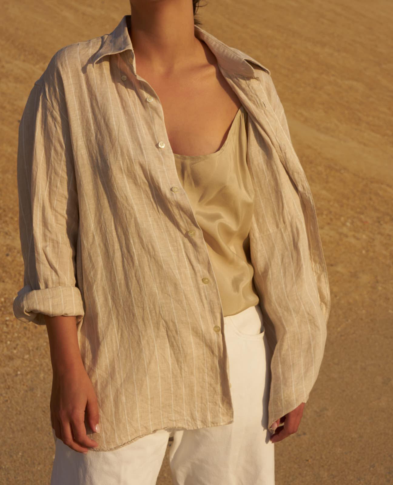 the level vintage menswear linen stripe shirt oversize minimal sunset