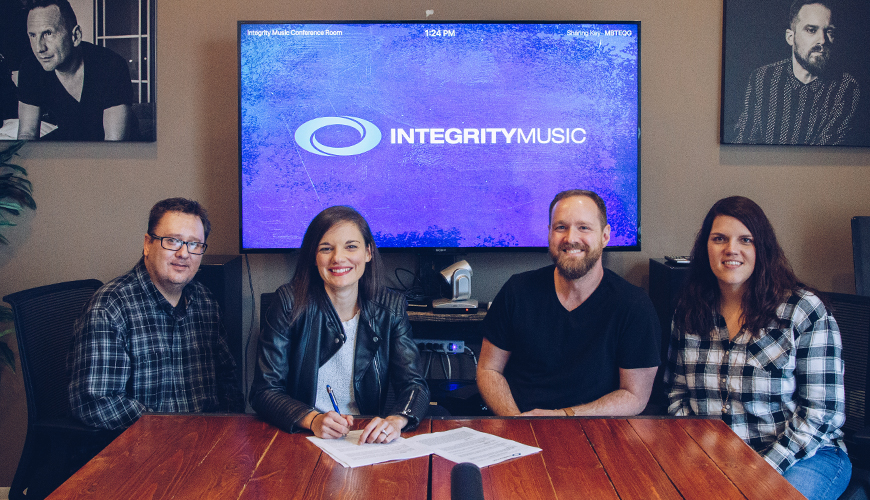 Sarah Kroger and Integrity Music's Team at Sarah's signing