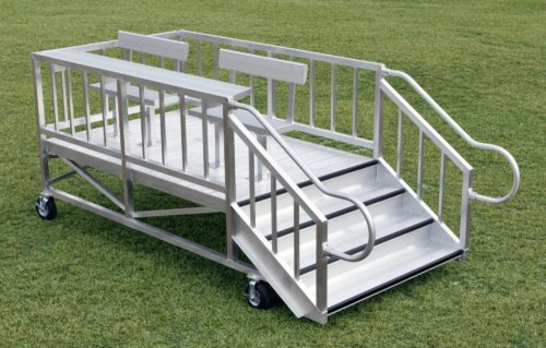"FEATURED PRODUCT: PORTABLE SCORING / VIEWING STAND - This all-aluminum portable viewing/scoring stand is a versatile product to help meet space and budget restrictions. It's on wheels, so is easily transportable to different locations and/or events—inside or outside!SIZE: 5'4""W x 8'L, elevated 2'4"" above grade. Railings are 42"" in height with a shelf on top of the front rail. Seats 4 people.TODAY'S PRICE: $3,820PLACE ORDER NOW OR CALL 866-518-2330"