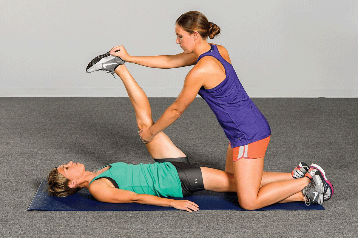 Example of Hold-Relax PNF technique. Photo credit of    Human Kinetics
