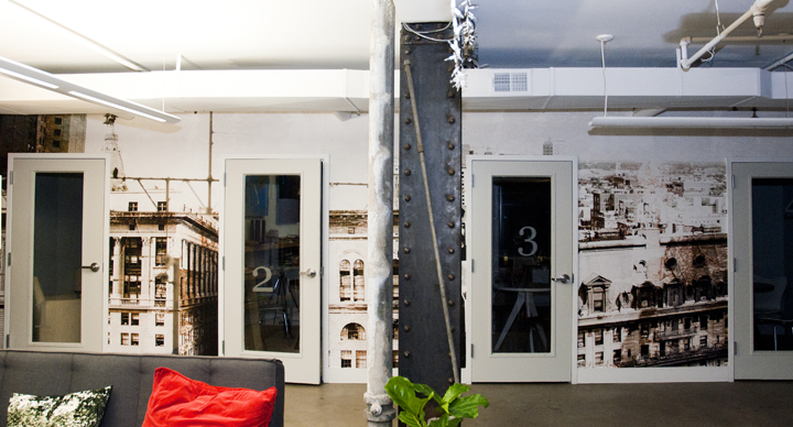 """""""Midtown Vantage"""", a site-specific photo-based wall-vinyl mural for  CultureWorks Philadelphia."""
