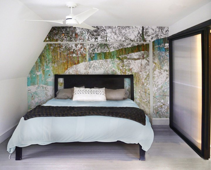 Photographic wall vinyl for the newly re-designed bedroom suite by Alan Metcalfe of  Metcalfe Architecture & Design.