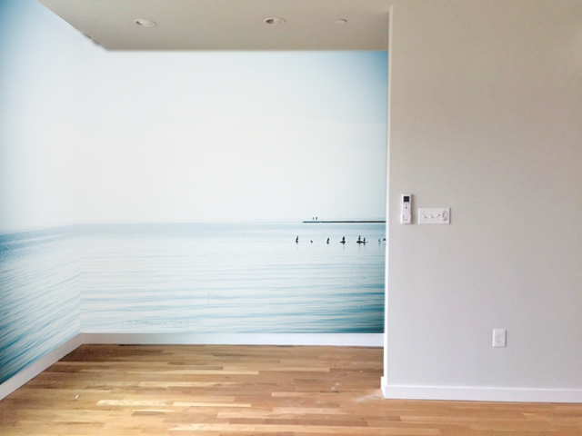 """Rendering of """"Sea Birds"""" printed on photographic wall vinyl in a new home."""